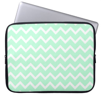 Mint Green Zigzag Chevron Stripes. Computer Sleeve