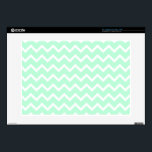 "Mint Green Zigzag Chevron Stripes. Decal For Laptop<br><div class=""desc"">Zig zag pattern in light mint green and white. A stylish pastel chevron pattern design.</div>"