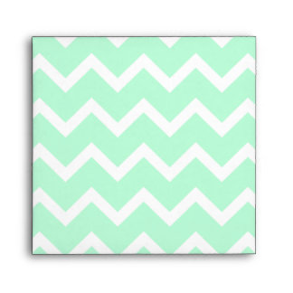 Mint Green Zigzag Chevron Stripes. Envelope