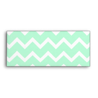 Mint Green Zigzag Chevron Stripes. Envelopes