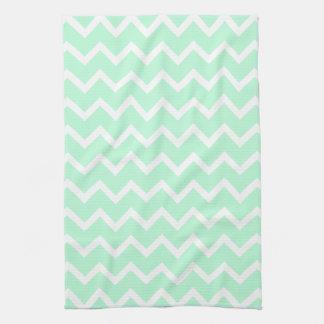 Mint Green Zigzag Chevron Stripes. Hand Towel