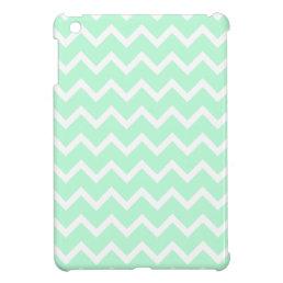 Mint Green Zigzag Chevron Stripes. iPad Mini Cases