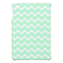 Mint Green Zigzag Chevron Stripes. iPad Mini Cover