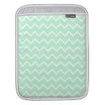 Mint Green Zigzag Chevron Stripes. Sleeve For iPads
