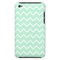 Mint Green Zigzag Chevron Stripes. iPod Case-Mate Case