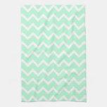 Mint Green Zigzag Chevron Stripes. Kitchen Towel