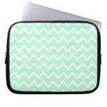 Mint Green Zigzag Chevron Stripes. Laptop Sleeve