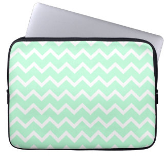 Mint Green Zigzag Chevron Stripes. Laptop Sleeve