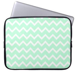 Mint Green Zigzag Chevron Stripes. Laptop Computer Sleeves