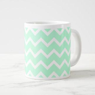 Mint Green Zigzag Chevron Stripes. Large Coffee Mug