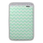 Mint Green Zigzag Chevron Stripes. MacBook Sleeve