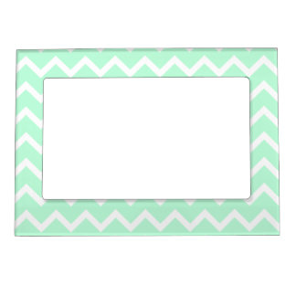 Mint Green Zigzag Chevron Stripes. Magnetic Picture Frame