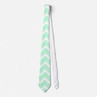 Mint Green Zigzag Chevron Stripes. Neck Tie