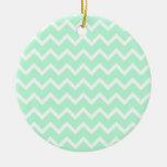 Mint Green Zigzag Chevron Stripes. Christmas Ornament