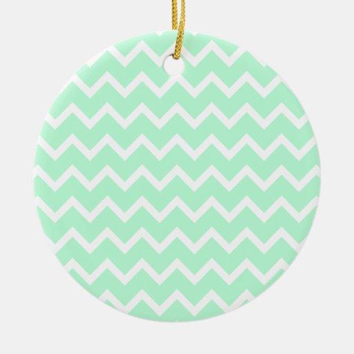 Mint Green Zigzag Chevron Stripes. Double-Sided Ceramic Round Christmas Ornament