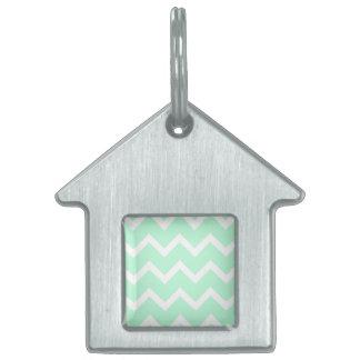 Mint Green Zigzag Chevron Stripes. Pet ID Tag
