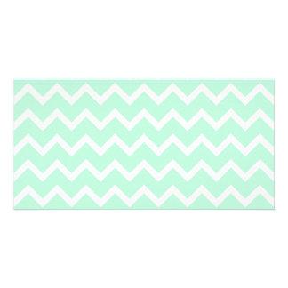Mint Green Zigzag Chevron Stripes. Photo Cards