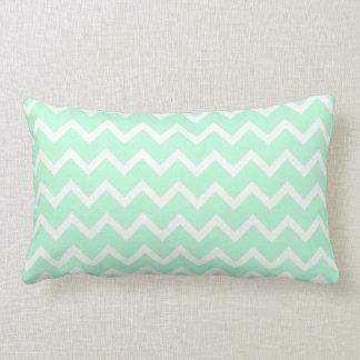 Mint Green Zigzag Chevron Stripes. Pillow