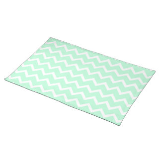 Mint Green Zigzag Chevron Stripes. Cloth Placemat