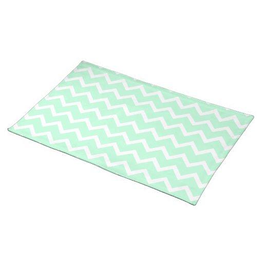 Mint Green Zigzag Chevron Stripes. Placemat