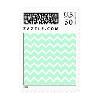 Mint Green Zigzag Chevron Stripes. Postage