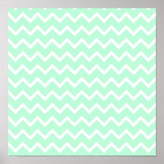 Mint Green Zigzag Chevron Stripes. Poster