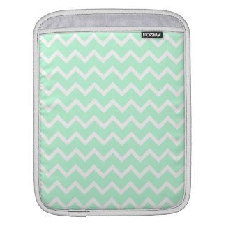 Mint Green Zigzag Chevron Stripes. Sleeve For iPads