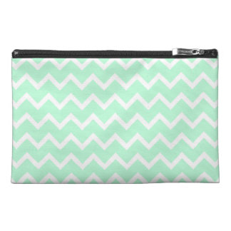 Mint Green Zigzag Chevron Stripes. Travel Accessories Bag