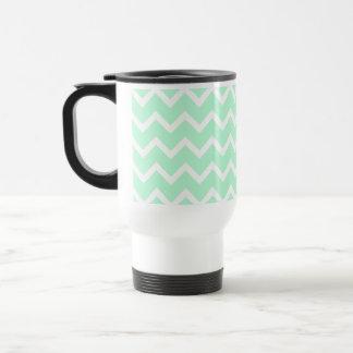 Mint Green Zigzag Chevron Stripes. Travel Mug