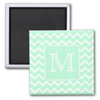 Mint Green Zigzag with Custom Monogram. 2 Inch Square Magnet