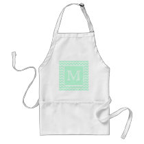 Mint Green Zigzag with Custom Monogram. Adult Apron