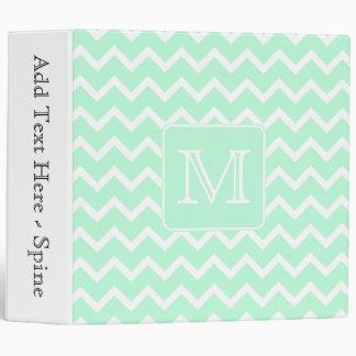 Mint Green Zigzag with Custom Monogram. Binders