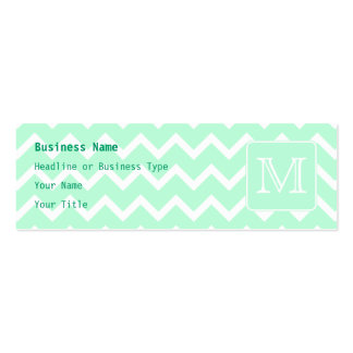 Mint Green Zigzag with Custom Monogram. Double-Sided Mini Business Cards (Pack Of 20)