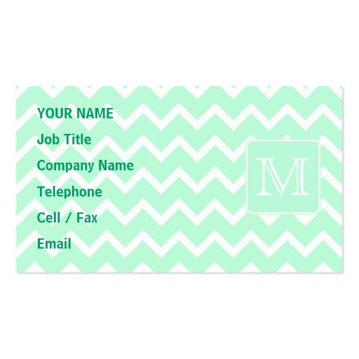 Mint Green Zigzag with Custom Monogram. Business Cards