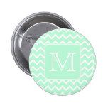 Mint Green Zigzag with Custom Monogram. Button