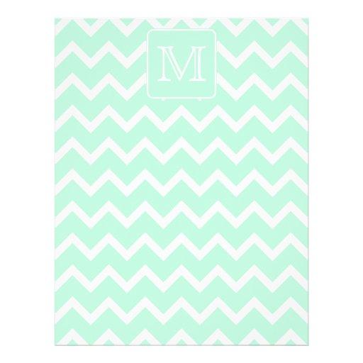 Mint Green Zigzag with Custom Monogram. Flyer Design