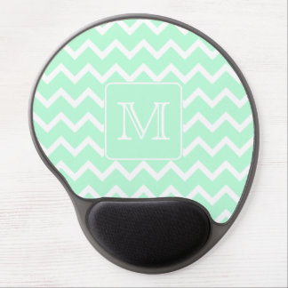 Mint Green Zigzag with Custom Monogram. Gel Mouse Pad