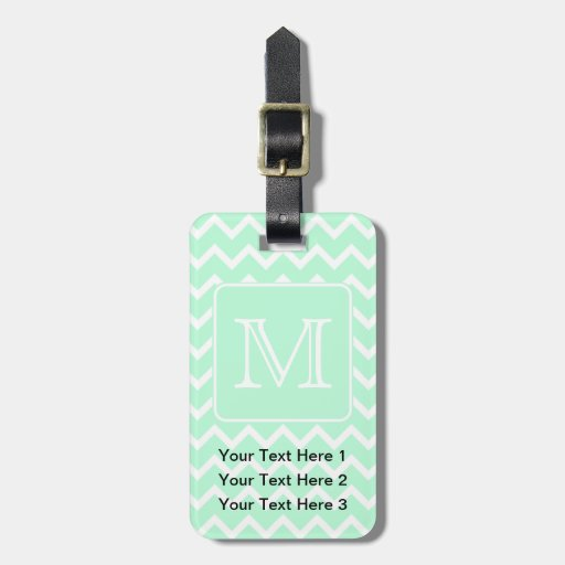 Mint Green Zigzag with Custom Monogram. Tag For Luggage