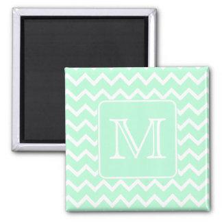 Mint Green Zigzag with Custom Monogram. Magnet