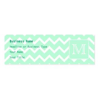 Mint Green Zigzag with Custom Monogram. Mini Business Card
