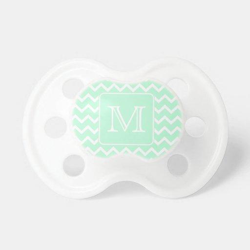 Mint Green Zigzag with Custom Monogram. Baby Pacifier