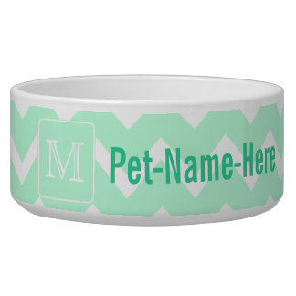 Mint Green Zigzag with Custom Monogram. Dog Water Bowl