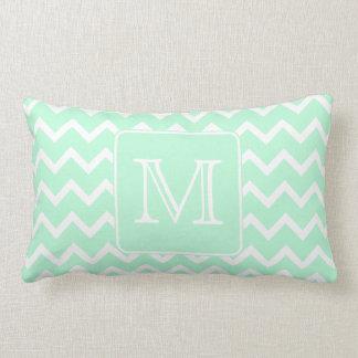 Mint Green Zigzag with Custom Monogram. Pillow