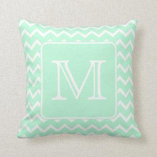 Mint Green Zigzag with Custom Monogram. Throw Pillow
