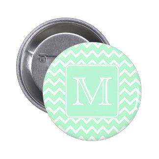 Mint Green Zigzag with Custom Monogram. Pins