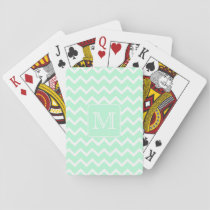 Mint Green Zigzag with Custom Monogram. Playing Cards