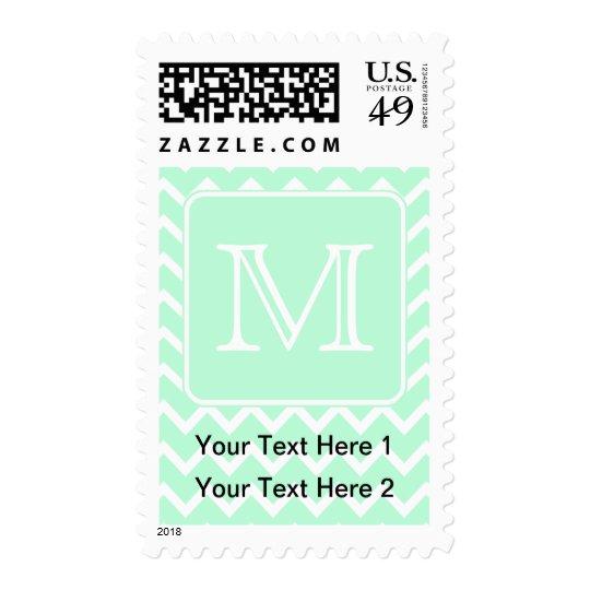 Mint Green Zigzag with Custom Monogram. Postage