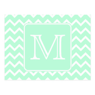 Mint Green Zigzag with Custom Monogram. Postcard