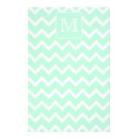 Mint Green Zigzag with Custom Monogram. Stationery Design