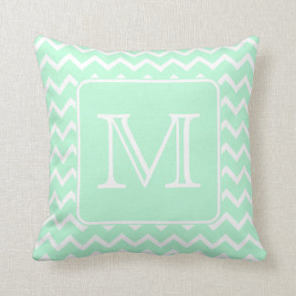 mint green zigzag with custom monogram throw pillow
